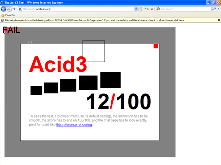 IE8 against Acid Test 3